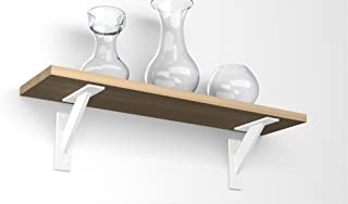 EMT-DESIGN® Par de MODERN! ALUMINUM! Soportes de estante para esquinas decorativas, Blanco, 120x120