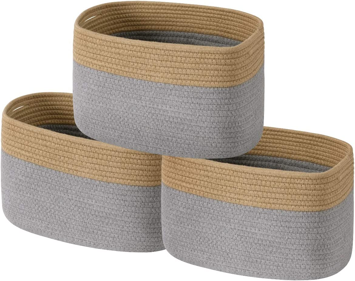 UBBCARE Industry No. 1 Cotton Rope Storage Baskets Bin Cube of 3 Or Long-awaited Set