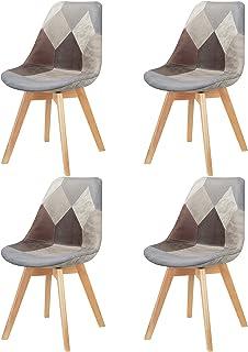 Mid-Century Lot de 4 chaises de salle à manger modernes tapissées avec pieds en hêtre massif pour chambre à coucher, salon...