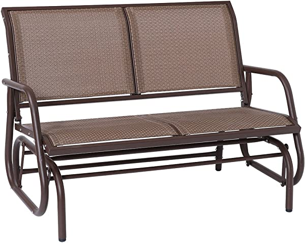 Outdoor Swing Glider Chair Superjare Patio Bench For 2 Person Garden Rocking Seating Brown