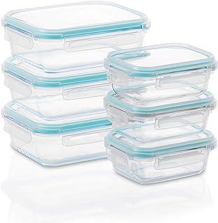 Set 4X Box Lavabili per Microonde Freezer Navaris Contenitori in Vetro Ermetici per Alimenti con Coperchio e Divisore 2 Misure Rettangolari