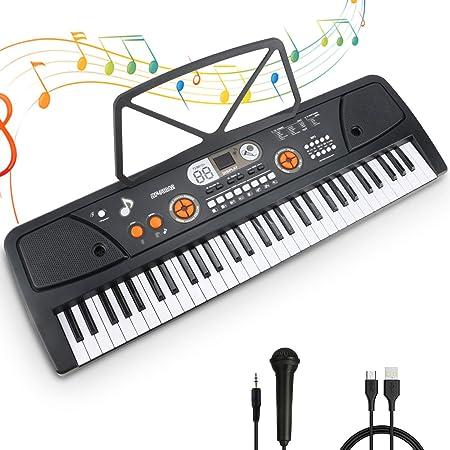 Teclado Electrónico Piano 61 Teclas Teclado de Piano Portátil Teclado Electrónico Musica Teclado Digital Keyboard Piano con Atril y Micrófono Juguete ...