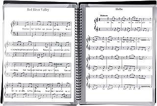 楽譜ファイル a4サイズ 楽譜入れ 防水 吹奏 楽譜 譜面 見開き 書き込み 楽譜ケース ピアノ用 発表用 60枚 収納可能 持ち運び (60枚ーブラック)