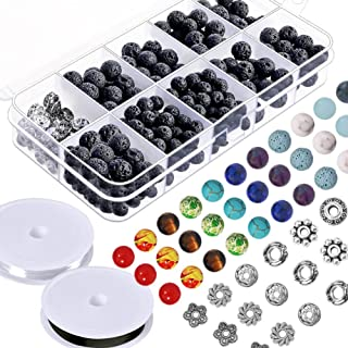 Paxcoo 512pcs Lava Beads Stone Rock with Chakra Beads and Spacer Beads for Essential Oil and Jewelry Making