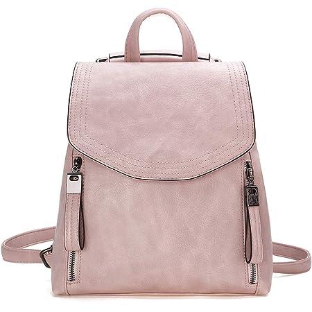 JOSEKO Damen-Rucksack mit Klappe aus Leder, lässiger Rucksack mit Schulterriemen, Rosa (Pink) - JOSEKOukpursemall2646