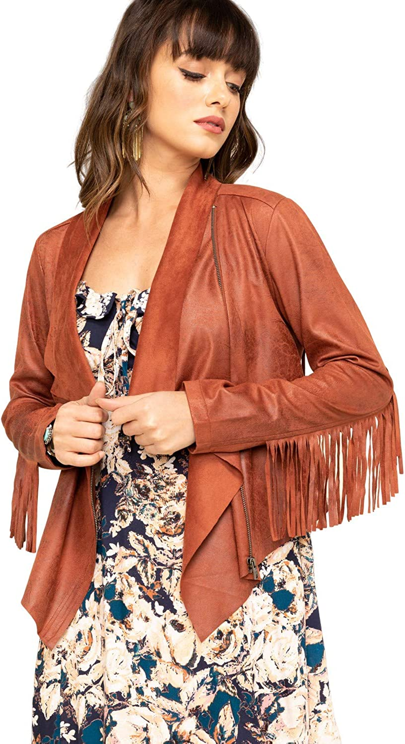 discount Shyanne Selling and selling Women's Rust Faux Suede Swsp20o4-Rst Jacket - Fringe