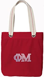 Broad Bay Phi Mu Tote Bag Rich Dye Washed RED Cotton Canvas