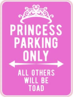 "AMERICAN WIT Quality Metal Signs, Princess Parking Only, Funny Novelty High Grade Aluminum Sign for Home Driveway Girls Kids Bedroom Decoration, Pink Design, 12"" x 9"""