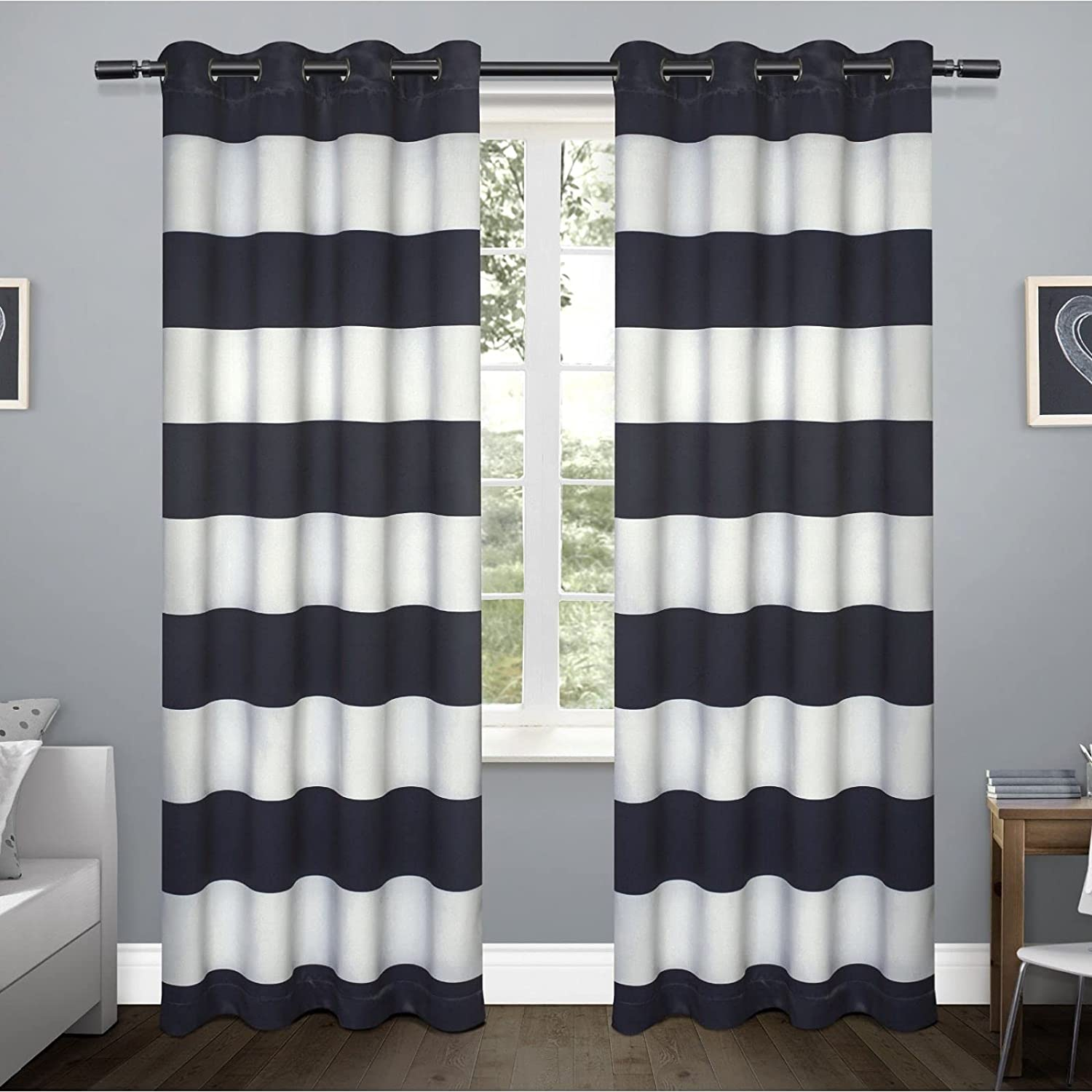 Albuquerque Mall All items free shipping Exclusive Home Curtains Rugby Sateen Panel Window Curtain Pair w