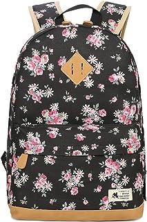 DNFC Canvas Rucksack Damen Mädchen Schulrucksack Fashion Schulranzen Teenager Schultaschen Blumen Freizeitrucksack Mode Daypack Backpack für Frauen Schwarz