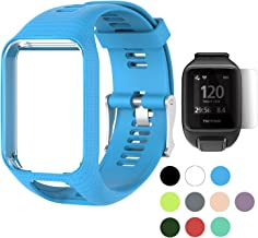 TUSITA Band for Tomtom Runner 2 3,Spark 3,Golfer 2,Adventurer - Silicone Replacement Strap Bracelet Wristband with Screen Protector - GPS Smart Watch Accessories