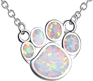 Puppy Dog Paw Print Necklace Created-Opal Pendant Women Family Jewelry, 16''+2''