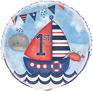 "Unique Nautical 1st Birthday Foil Balloon, Multi, 45cm (18"")"