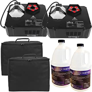 (2) Chauvet DJ Geyser P5 LED Fog Machines with Quick Dissipating Fog Fluid and Padded Carry Cases Package