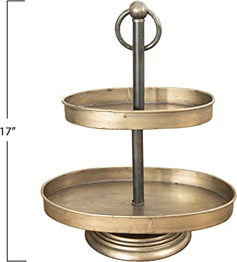 Creative Co-Op Decorative Metal Oval Two Tier Tray with Rustic Copper Finish, Antique Brass