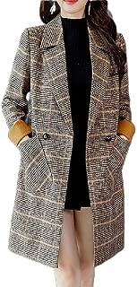 neveraway Women's Double Button Wool Blends Plaid Pockets Jackets Pea Coat