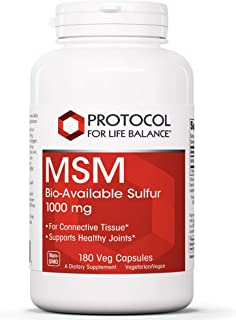 Protocol For Life Balance - MSM Bio-Available Sulfur - Improved Absorption Formula That Promotes Healthy Cartilage and Connective Tissue - 180 Capsules
