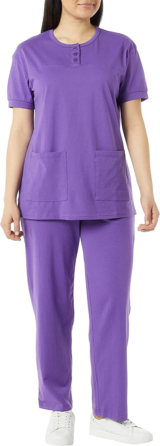 AmeriMark Women's Henley Pant Set – Short Sleeve Top with Pocket & Pull-On Pants
