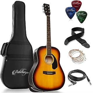 Ashthorpe Full-Size Dreadnought Acoustic-Electric Guitar Bundle - Premium Tonewoods - Sunburst