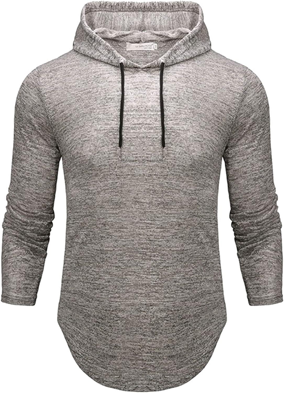 Mens Hoodies Fashion Irregular Athletic Hoodies Plain Sport Sweatshirt Long Sleeve Pullover Drawstring Tops