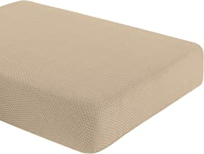 DyFun Knit Couch Cushion Cover Stretch Polyester Spandex Cushion Slipcover Furniture Protector (Loveseat Cushion,Beige)
