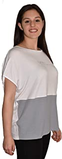 T-Shirt Donna, Logo in Veri Swarovski, Made in Italy (Unica, Bianco - Grigio)