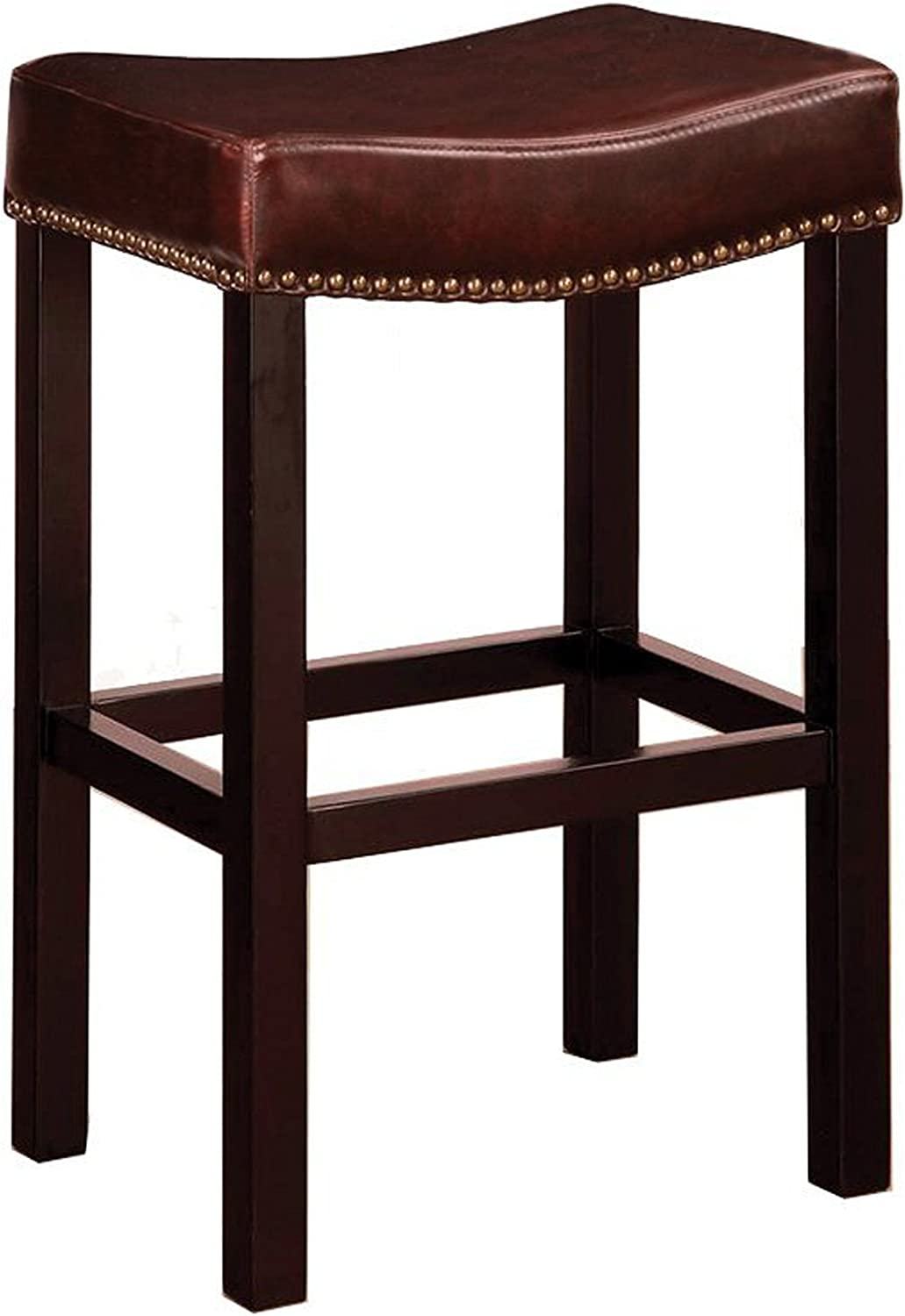 Armen Living Leather Barstool with Antique Nail Trim Brown Leather