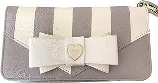 Betsey Johnson Grey White Stripe Fashion Bow & Charm Detail Double Entry Wristlet Wallet