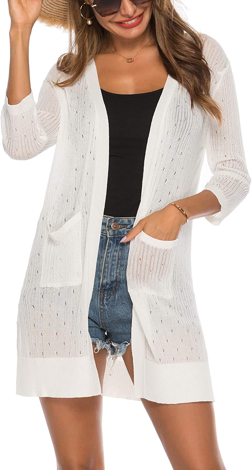 LYHNMW Women's Casual Mesh Cardigan Sheer 3/4 Sleeve or Long Sleeve Open Front Lightweight Knitted Cardigans