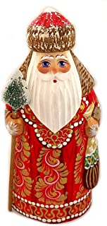 Wooden Hand Carved Painted Russian Santa Claus Figurine With Tree 6 1/2 inch
