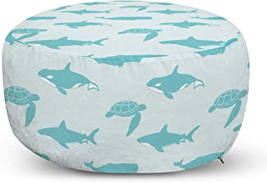Lunarable Whale Ottoman Pouf, Shark Loggerhead Sea Turtle Whale Caretta Caretta Swimming in The Ocean, Decorative Soft Foot Rest with Removable Cover Living Room and Bedroom, Pale Blue Turquoise