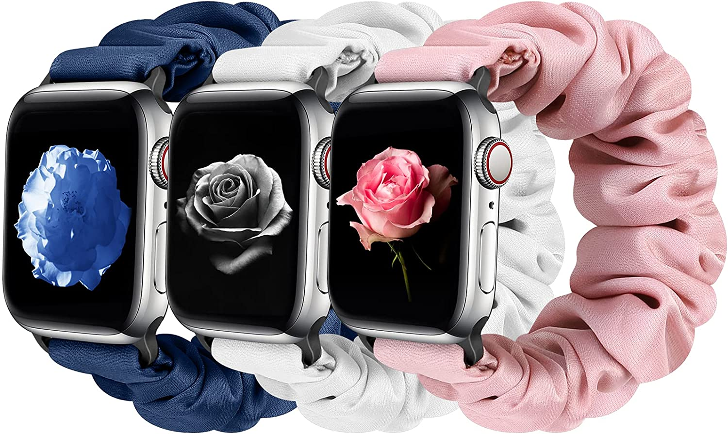 Tiptops 3 Packs Compatible with Apple Watch Bands Scrunchies 38mm 40mm 41mm 42 mm 44mm 45mm Women Cloth Pattern Printed Fabric Wristbands Straps Elastic Band for iWatch Series 7/6/5/4/3/2 /1/SE