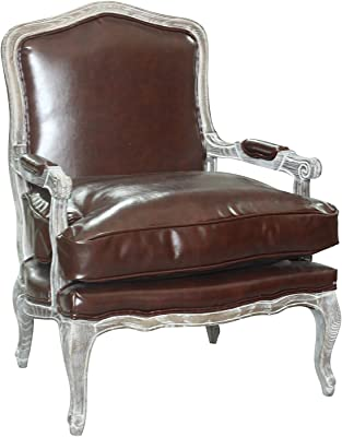 """Pangea Home Z Rodney Lounge Chair in Pu, 1"""", Antique White and Whiskey"""