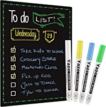 """Magnetic Dry Erase Black Board for Refrigerator with Chalkboard Design - 17X12"""" - Dry Erase Weekly Meal Planner and Grocer..."""