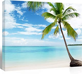 Purple Verbena Art Modern HD Giclee Canvas Wall Art for Home Decoration, Canvas Print Palm Tree Over Blue Sea Ocean Seascape Pictures Photograph Paintings, Stretched and Framed, 12x16 Inches