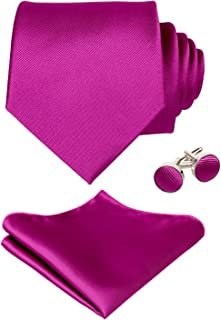 Alizeal Mens Solid Color Tie, Handkerchief and Cufflinks Set