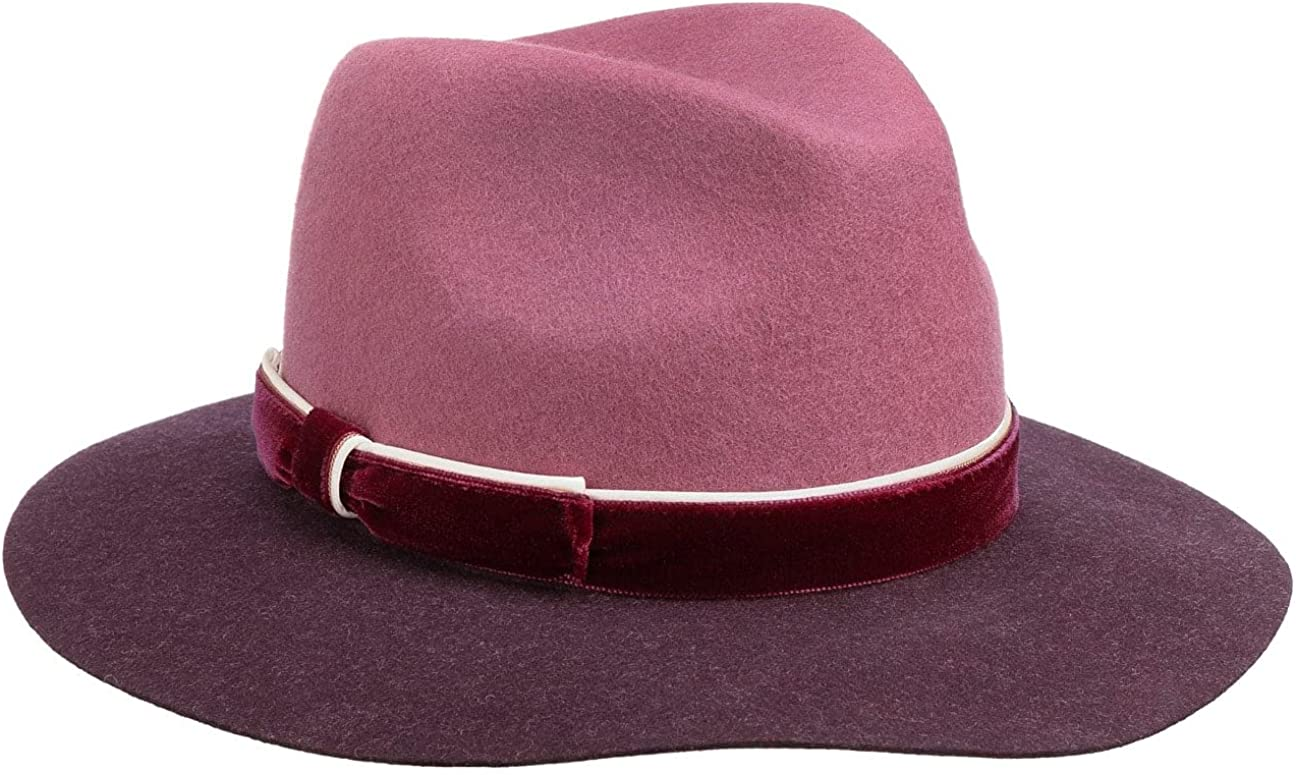 Lierys Twotone Fedora Dedication Hat with Velvet Band in half Women - Italy Made