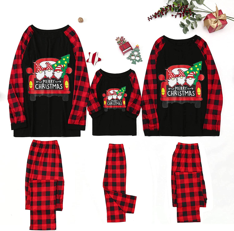Goldweather Christmas Family Pajamas Matching Sets Funny Gnome Print Blouse Tops + Plaid Pants Loungewear Xmas Pjs Sleepwear