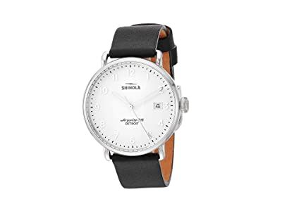 Shinola Detroit 38 mm Canfield 3HD (White/Black Leather Strap) Watches