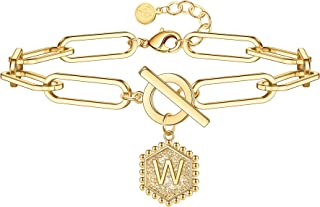 أساور ذهبية للنساء مطلية بالذهب عيار 14 قيراط للنساء في سن المراهقة قلادة سداسية الشكل شخصية أساور ذهبية اللون للنساء