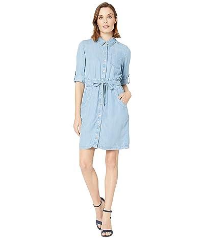 Calvin Klein Button Front Elastic Waist Denim Dress (Light Wash Denim) Women