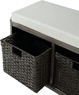 LUMISOL Shoe Storage Bench with 2 Woven Baskets, Homes Collection Wood Storage Organizer for Entryway Living Room Hallway (Gr