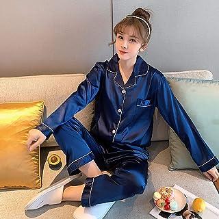 CIDCIJN Pijama para Mujer,Satin PJ Set Rosa Sleepwear Loungewear Dos Piezas Seda Pijamas Set Manga Larga Botón-Abajo Ropa De Hogar De Estilo Coreano De Seda, Azul, L