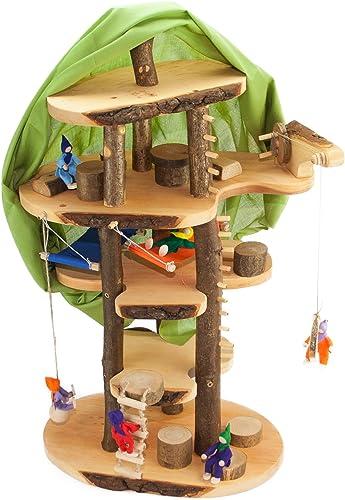 Decor-Spielzeug  Baumhaus Traum  ca. 6cm     - mit viel Zubeh und inkl. Filzpüppchen - Puppenhaus Holzspielzeug