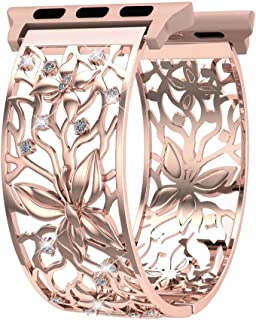 Compatible with Watch Band 38mm 40mm 42mm 44mm iWatch Bands Series 4 3 2 1, FresherAcc Women Girls Bling Crystal Butterfly Replacement Strap Metal Cuff Jewelry Wristband (38mm/40mm Rose Gold)