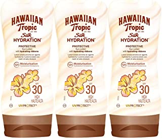 Hawaiian Tropic Silk Hydration Protective - Loción Solar Protectora con índice SPF 30 con cintas de seda hidratantes y resistente al agua, Pack de 3 uds, formato de 180 ml