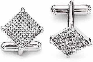 Solid 925 Sterling Silver & CZ Cubic Zirconia Cufflinks (17mm x 17mm)
