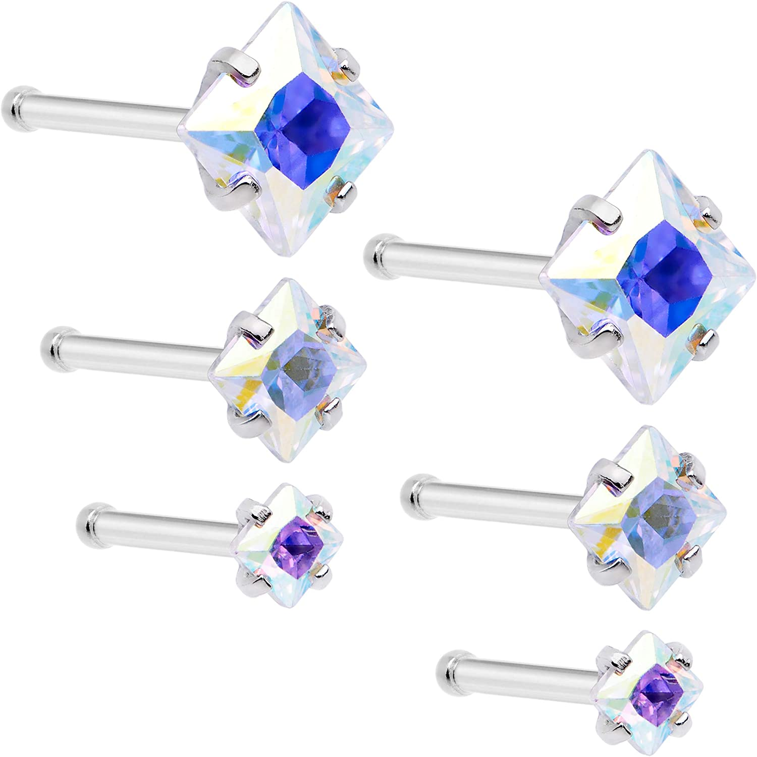 Body Candy 6Pc Womens 20G 316L Steel Nose Ring Aurora Accent Nose Stud Nose Bone Body Piercing Jewelry 1/4