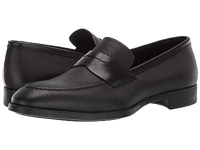 Giorgio Armani Textured Leather Loafer (Black) Men