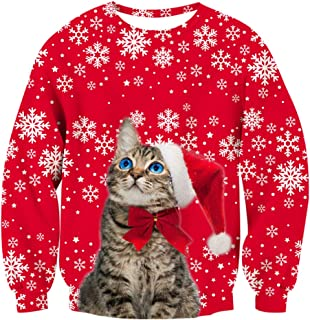 Unisex Ugly Christmas Sweatshirt Funny Design Pullover Sweater for Xmas Holiday Party